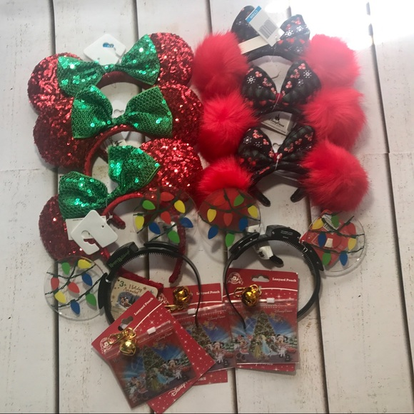 disney christmas mouse ears minnie xmas sequin